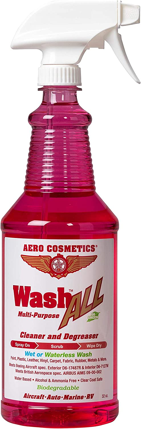 Aero Cosmetics Wash All Degreaser, Wet or Waterless Cleaner Degreaser, Wheel, Tire, Engine Cleaner, Black Streak & Aircraft Exhaust Soot Remover, The Best for Your Car, RV, Boat & Motorcycle 32oz