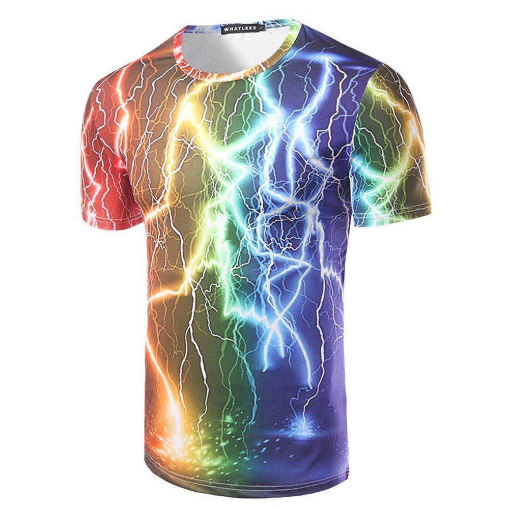 Short Sleeve T-Shirt_Fantasy Blitz Rainbow Gedruckt runden Ausschnitt Shortsleeve T-Shirt, M ZNXFGNJCMY