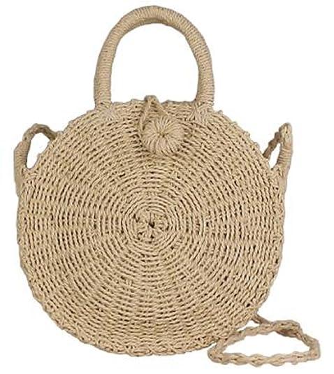 211906620a Lush Leather Beige Handmade Woven Circle Straw Abacá Shoulder Natural  Crossbody Rope Bag  Handbags  Amazon.com