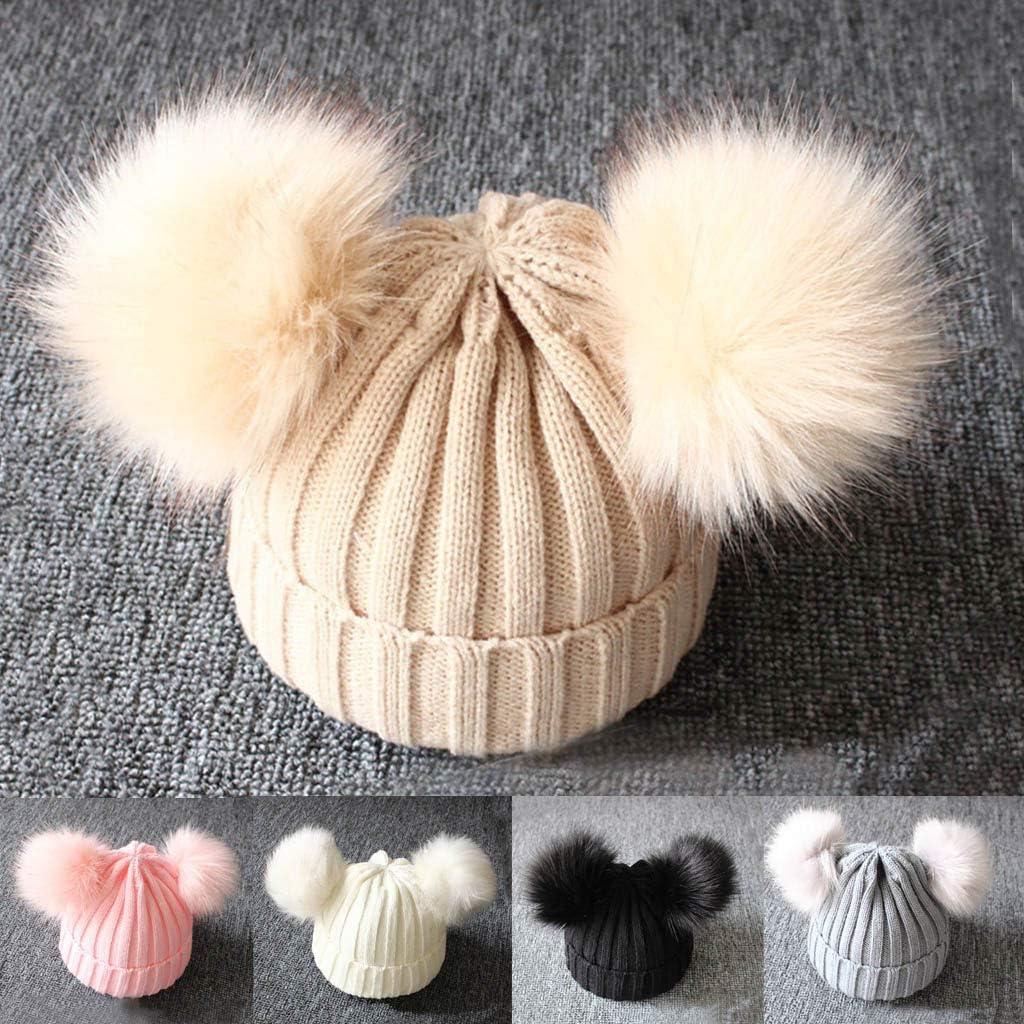 Meisiqw Kids Winter Hats Baby Boys Girls Knitting Wool Beanie Cap Children Cute Faux Fur Pom Pom Hat,for Ages 1-3 Years