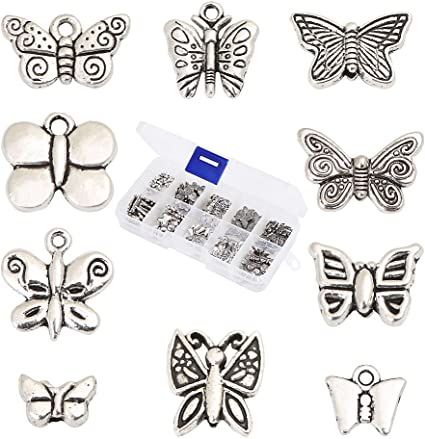 20 Metal Butterfly Spacer Beads Bead Silver Tone Butterflies For Beading /& Craft