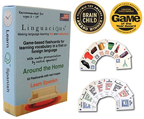 Linguacious Award-Winning Learn Spanish Around The Home Flashcard Game for  Kids - with Audio by Native Speaker!