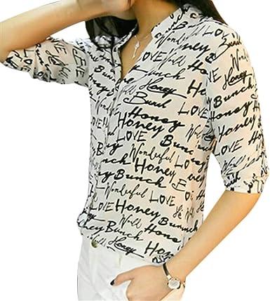 Tidecc - Camisas - Animal Print - para mujer Letter Print X-Large: Amazon.es: Ropa y accesorios