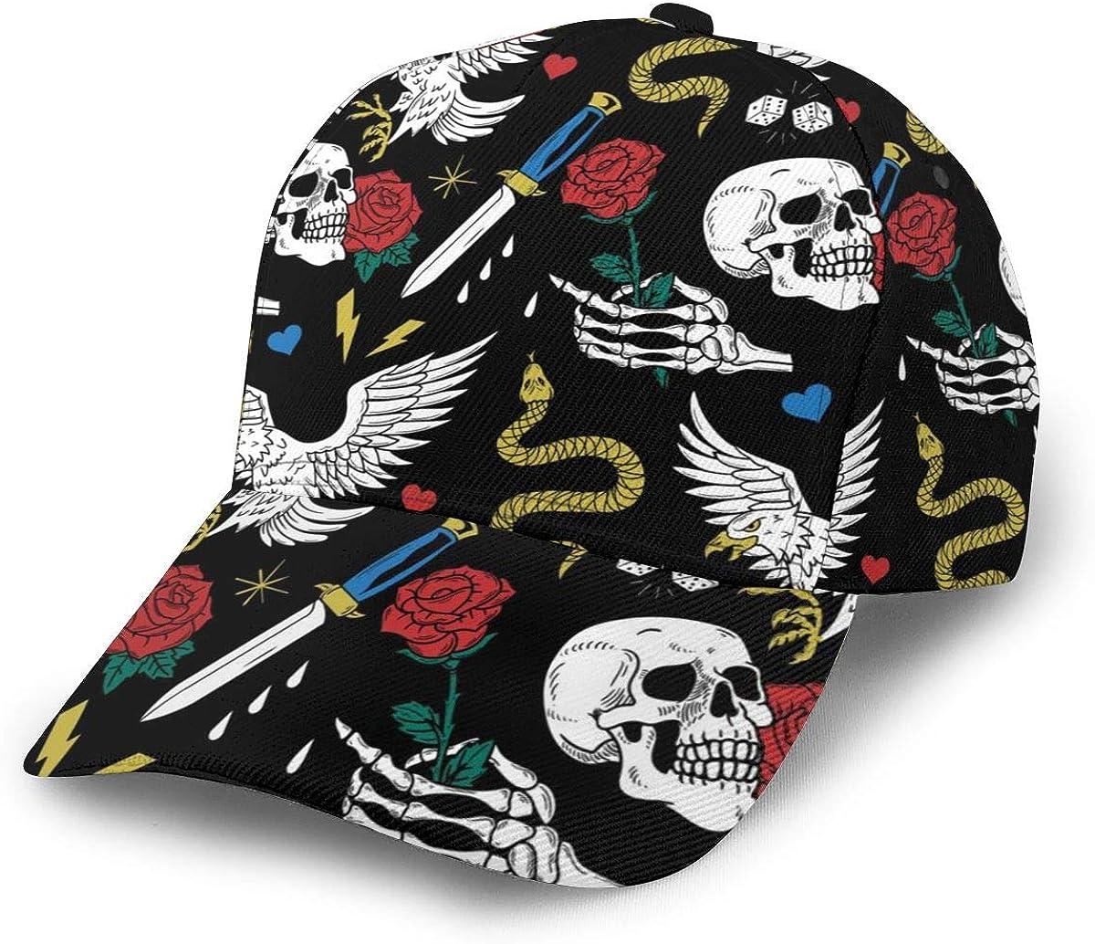 HHTZTCL Old School Tattoo Line Pattern Baseball Cap Adjustable Washed Cotton Dad Hat Hats Black