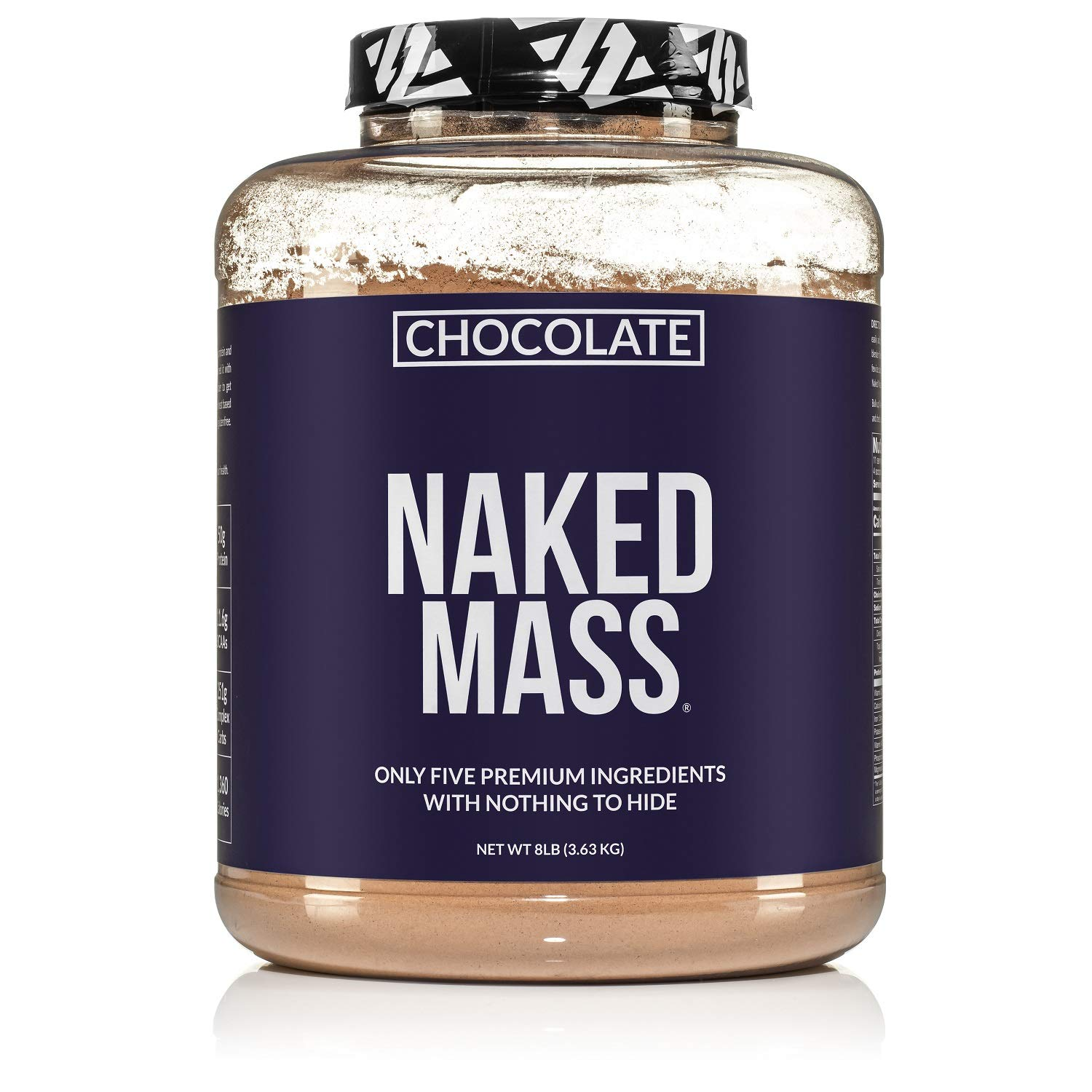 Chocolate Naked Mass - All Natural Chocolate Weight Gainer Protein Powder - 8lb Bulk, GMO Free, Gluten Free & Soy Free. No Artificial Ingredients - 1,360 Calories - 11 Servings