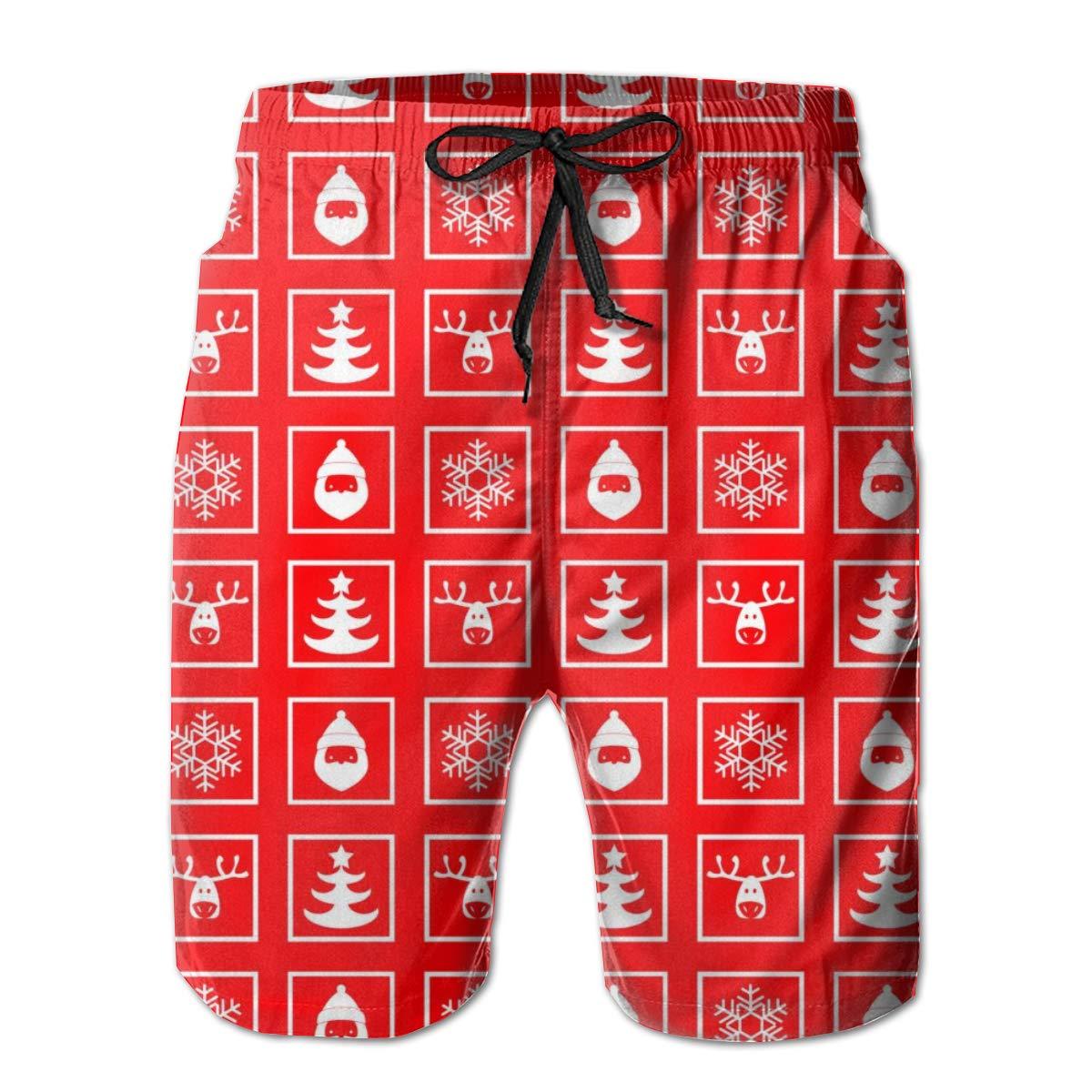 Mens Swim Trunks Quick Dry Red Plaid Snowman Printed Summer Beach Shorts Board Beach Short