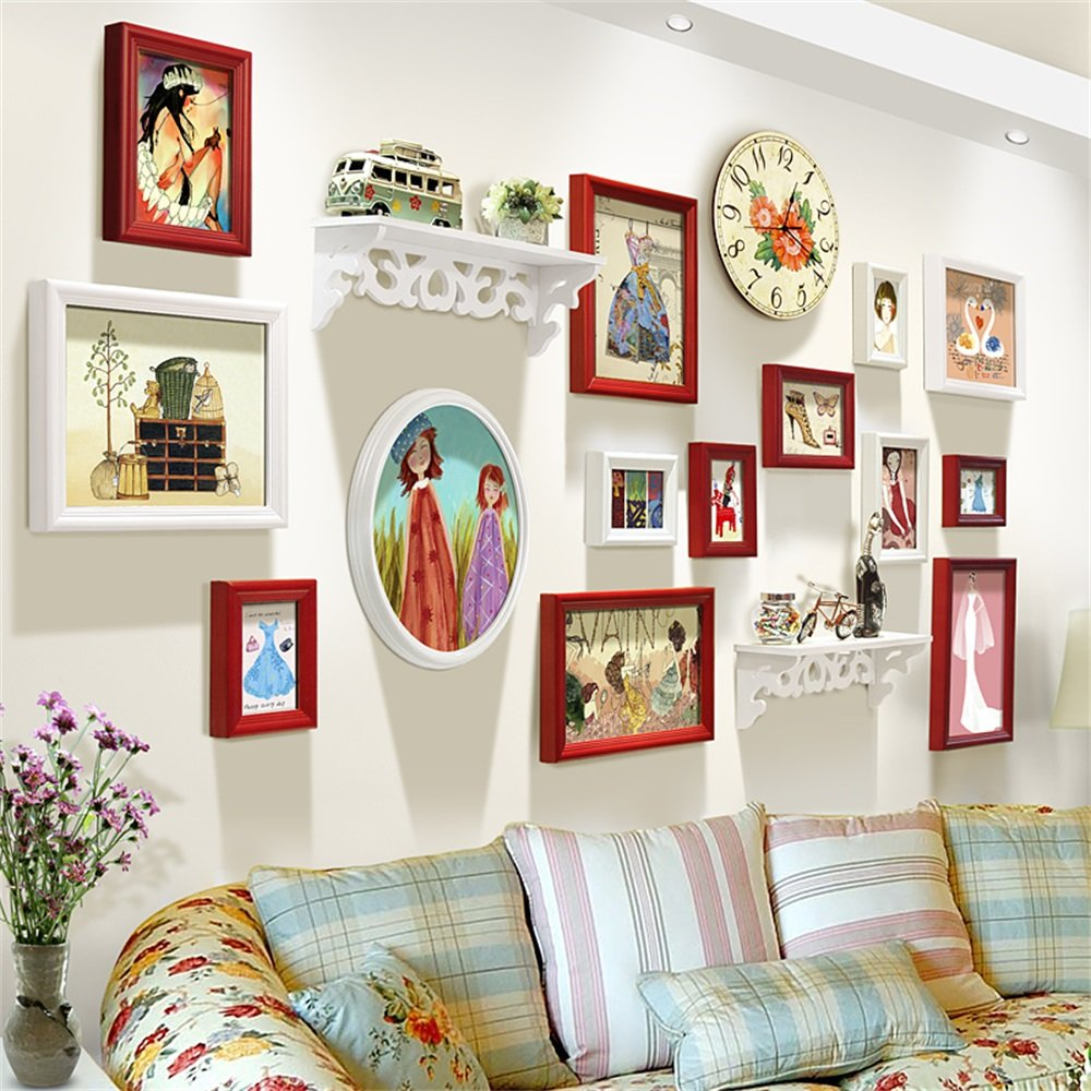 ALUPヨーロッパの写真の壁のリビングルームクリエイティブ人格シェルフフォトフレーム壁の壁時計の組み合わせ(画像はフレーム* 14個、シェルフ* 2個、ウォールクロック* 1個) B07C52KYCN