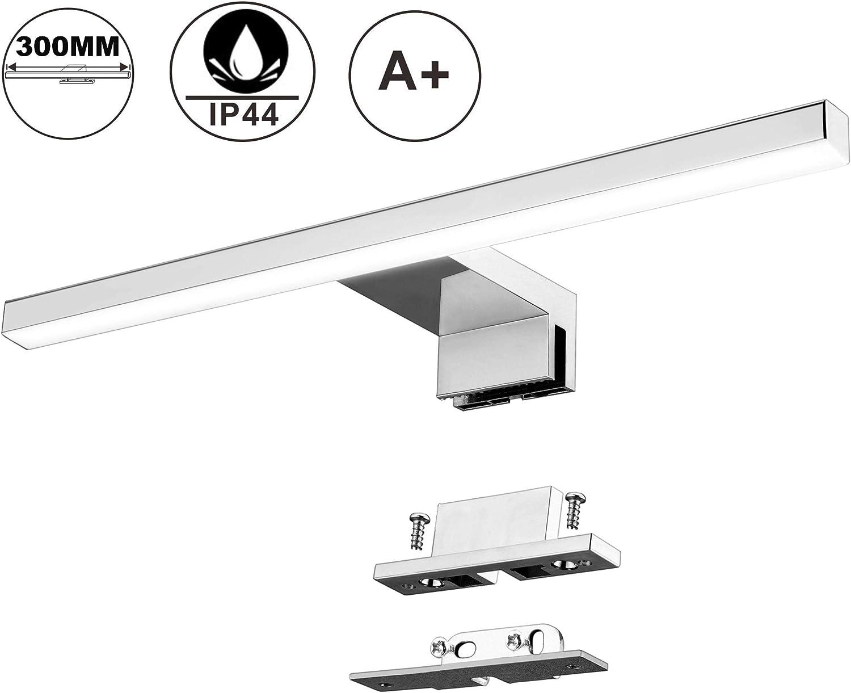 Lámpara de Espejo Baño LED 5W 30cm 400LM Azhien,Blanco Neutro 4000K LED Armario Lámpara Luz de Pared IP44 230V Aplique de Baño Espejo Acero Inoxidable 300x14x14mm