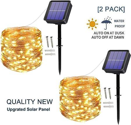 Outdoor Solar 10M 100 LED Copper Wire String Fairy Xmas Garden Light White Lamp