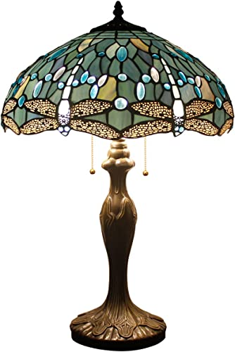 Tiffany Lamp W16H24 Inch Tall Sea Blue Stained Glass Table Lamp Crystal Bead Dragonfly Style Shade S147 WERFACTORY Lover Friend Parent Living Room Bedroom Coffee Bar Desk Beside Lamp Art Crafts Gift
