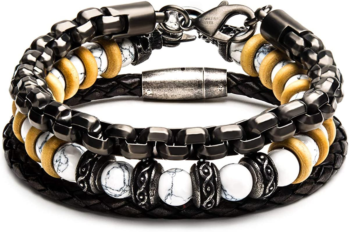 """Tribal Hollywood Men's Stacking Bracelets with Leather and Beads 