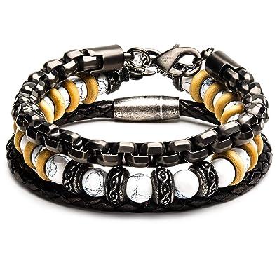 c1a3a56cb6e82 Amazon.com: Tribal Hollywood Alabaster Mens Bracelet Stack with ...