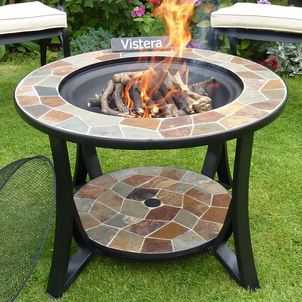 VISTERA MADEIRA SLATE MOSAIC FIRE PIT TABLE VIS-FIRTABMAD