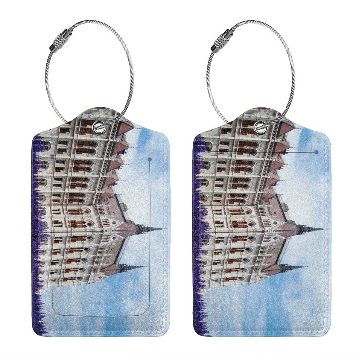 Hungarian Parliament Building Gothic Architecture Travel Luggage Tags With Full Privacy Cover Leather Case And Stainless Steel Loop
