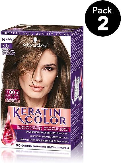 Keratin Color de Schwarzkopf - Tono 5.0 Castaño Claro - 2 uds - Coloración permanente