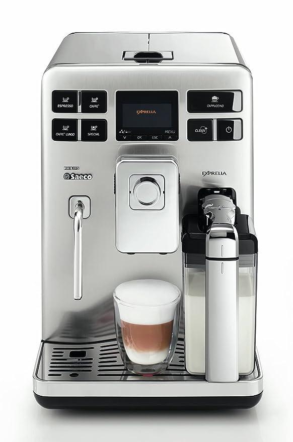 Saeco Exprelia - Cafetera espresso automática, con espumador de leche clásico y recipiente para leche, color negro