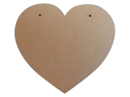2 x Large Blank MDF/Wooden Heart Shape Plaques/Signs - 220mm x 200mm - Ready to Decorate!