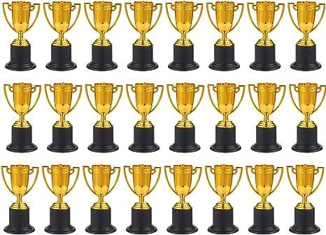 Juvale Premio trofeos – 24-Pack de plástico Tazas de Trofeo de Oro para competiciones Deportivas, Concursos, Partes, 1,9 x 4 x 1,9 cm: Amazon.es: Deportes y aire libre