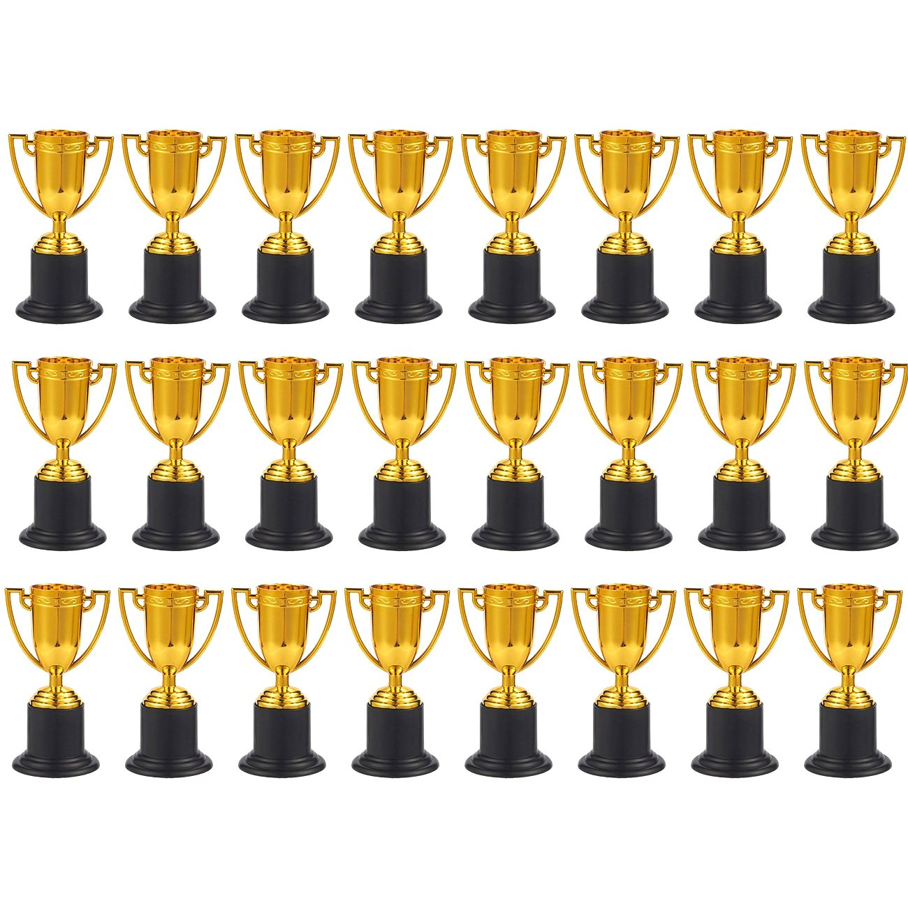 Juvale Award Trophies 1.9 x 4 x 1.9 Inches Parties 24-Pack Plastic Gold Trophy Cups for Sports Tournaments Competitions