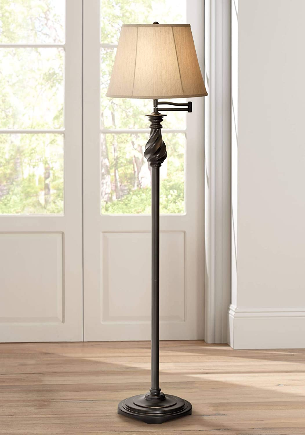 Traditional Swing Arm Floor Lamp Painted Black Bronze Swirl Font Faux Silk Beige Shade for Living Room Reading Office – Regency Hill
