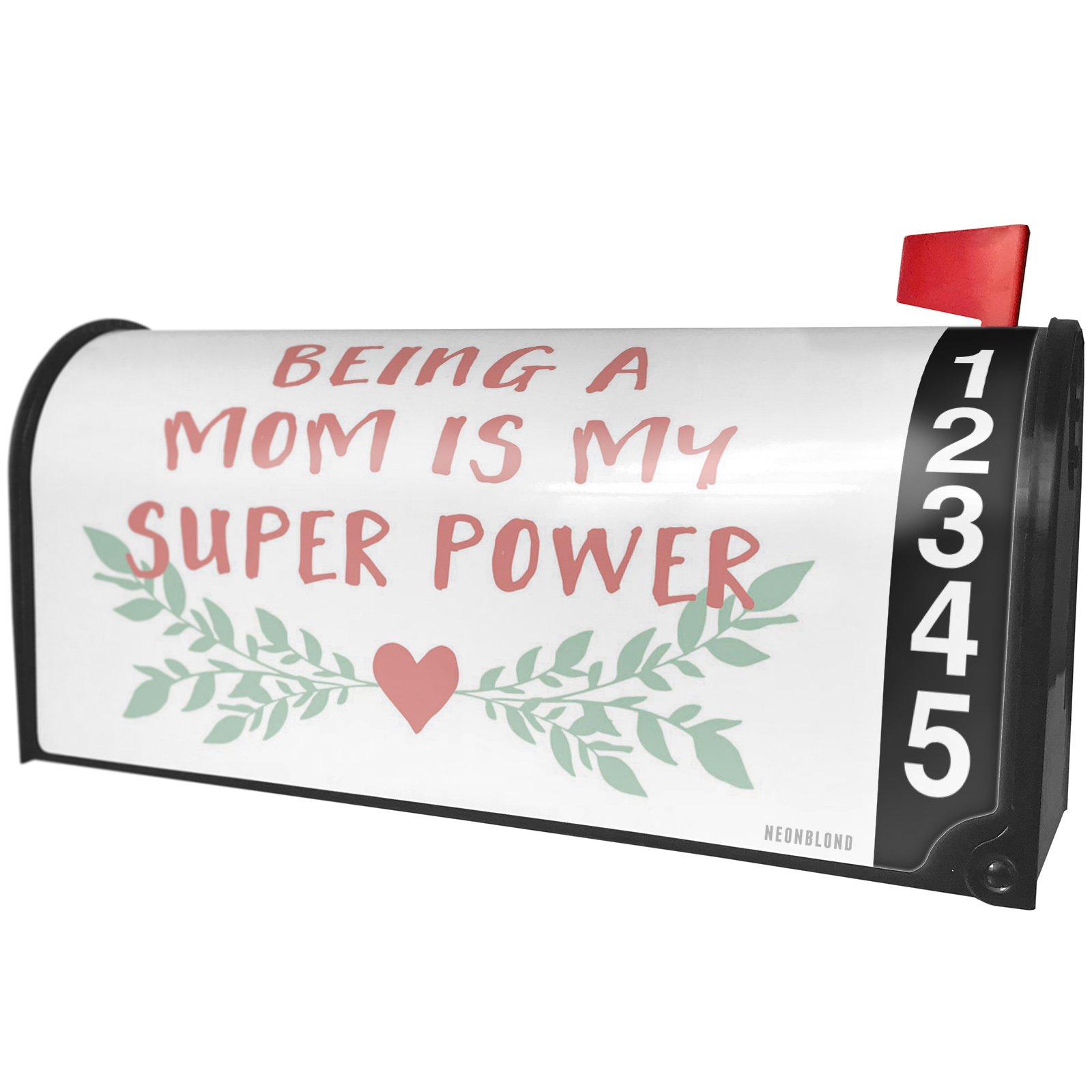 NEONBLOND Being a Mom is My Super Power Mother's Day Heart with Leaves Magnetic Mailbox Cover Custom Numbers