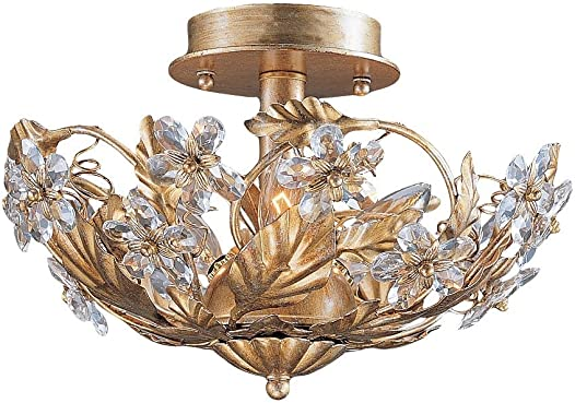 Crystorama 5316-GL Leaf, Flower, Fruit Six Light Ceiling Mounts from Abbie collection in Gold, Champ, Gld Leaffinish,