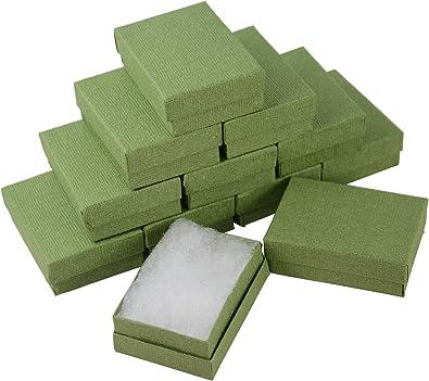 Boxdisplay 24 Cajas de cartón rectangulares de Lino Verde para Joyas, Anillos, Pendientes, Gemelos, medallas, Caja de Regalo, 67 x 40 x 25 mm: Amazon.es: Joyería