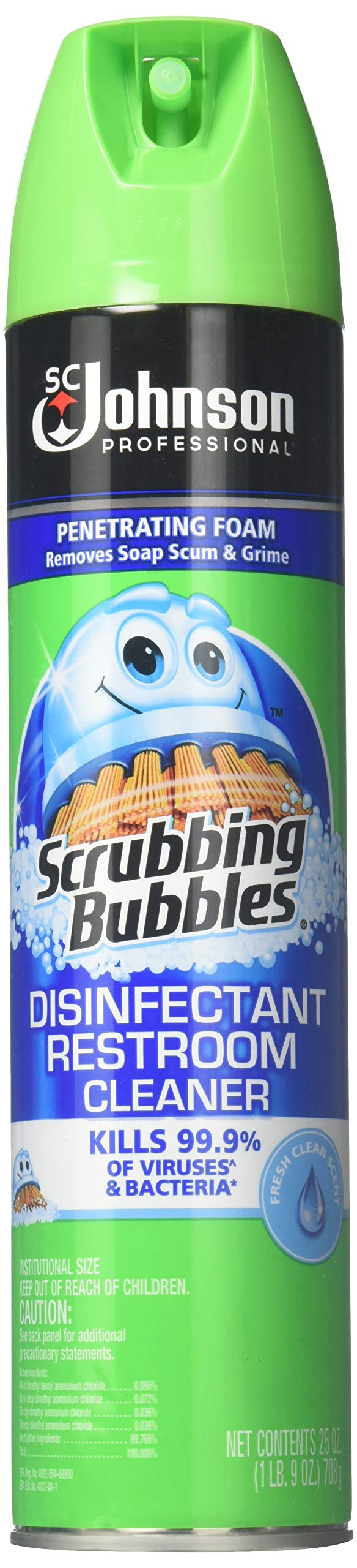 Scrubbing Bubbles Sc Johnson Professional Scrubbing Bubbles Disinfectant Restroom Cleaner, 25 Ounce each (Pack of 12)