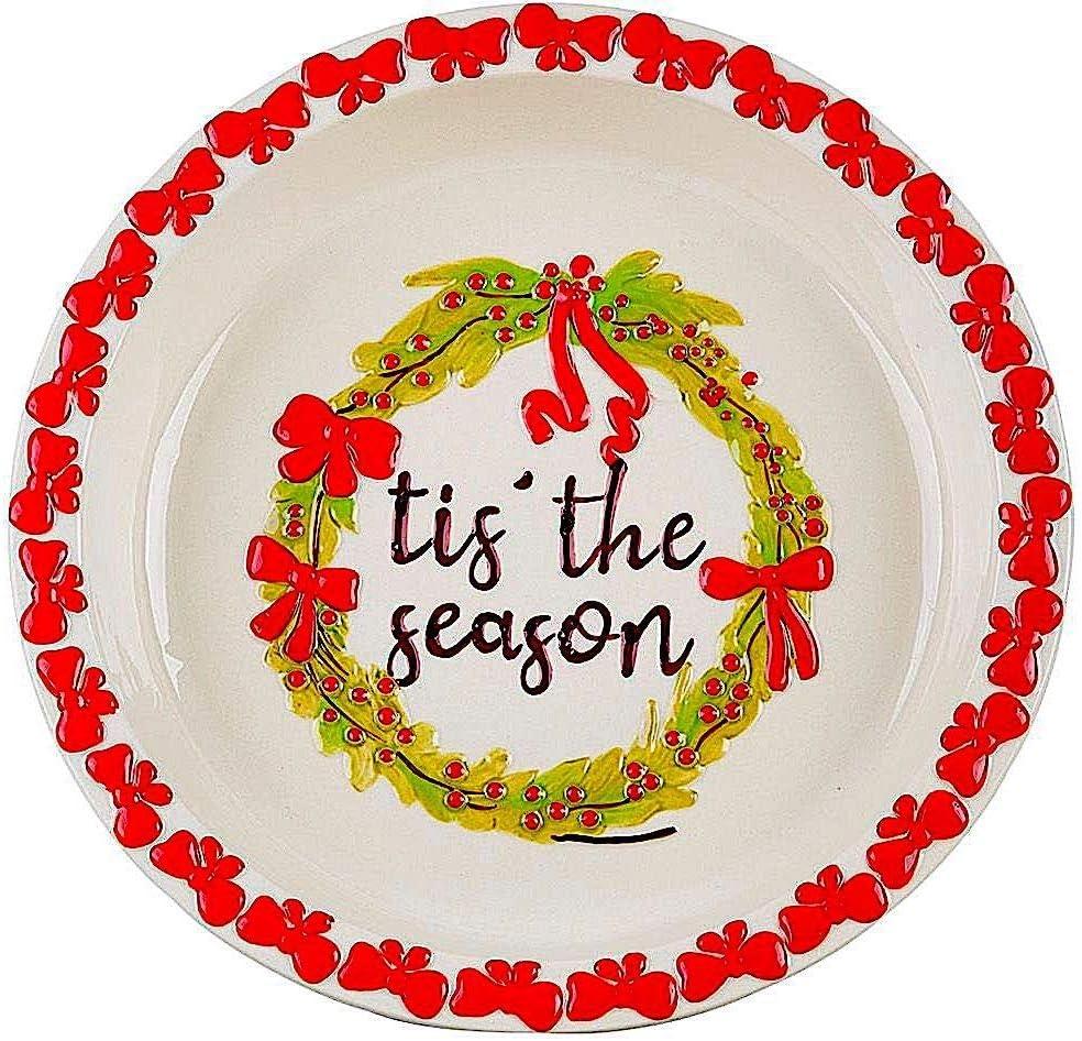 "Pie Dish Christmas Ceramic Baking Serving Deep Pan Colorful W Embossed Rim 10.25""D (Tis' The Season)"