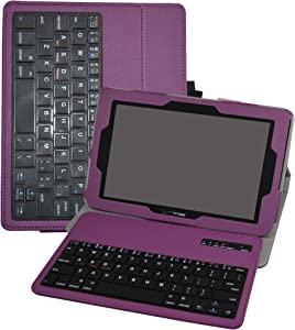 """Verizon Ellipsis 10 Wireless Keyboard Case,Mama Mouth Coustom Design Slim Stand PU Leather Case Cover with Romovable Wireless Keyboard for 10.1"""" Verizon Ellipsis 10 Android Tablet,Purple"""