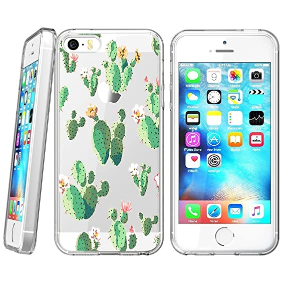 check out 4dd03 2a235 Amazon.com: Cactus Flower iPhone 5s 5 SE Case Clear, By Milostar ...