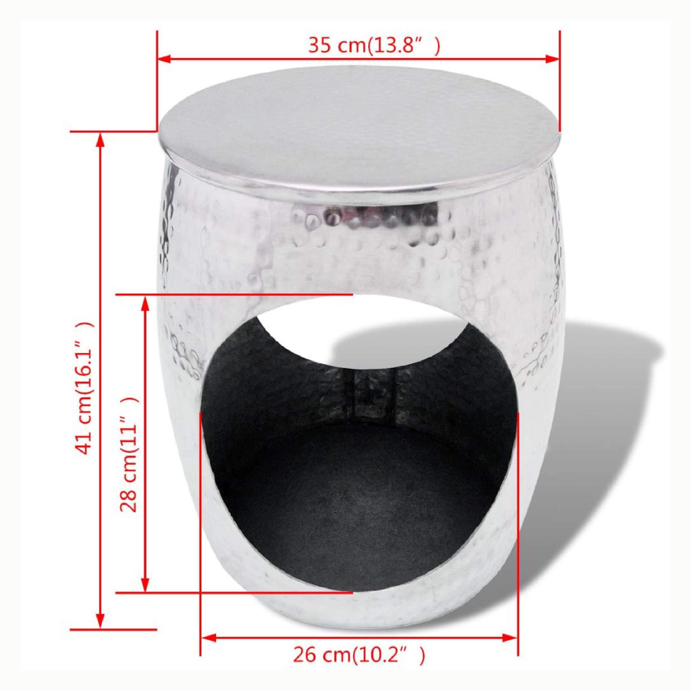 K&A Company Hocker/Side Table Barrel Shape Aluminum Silver by K&A Company (Image #4)