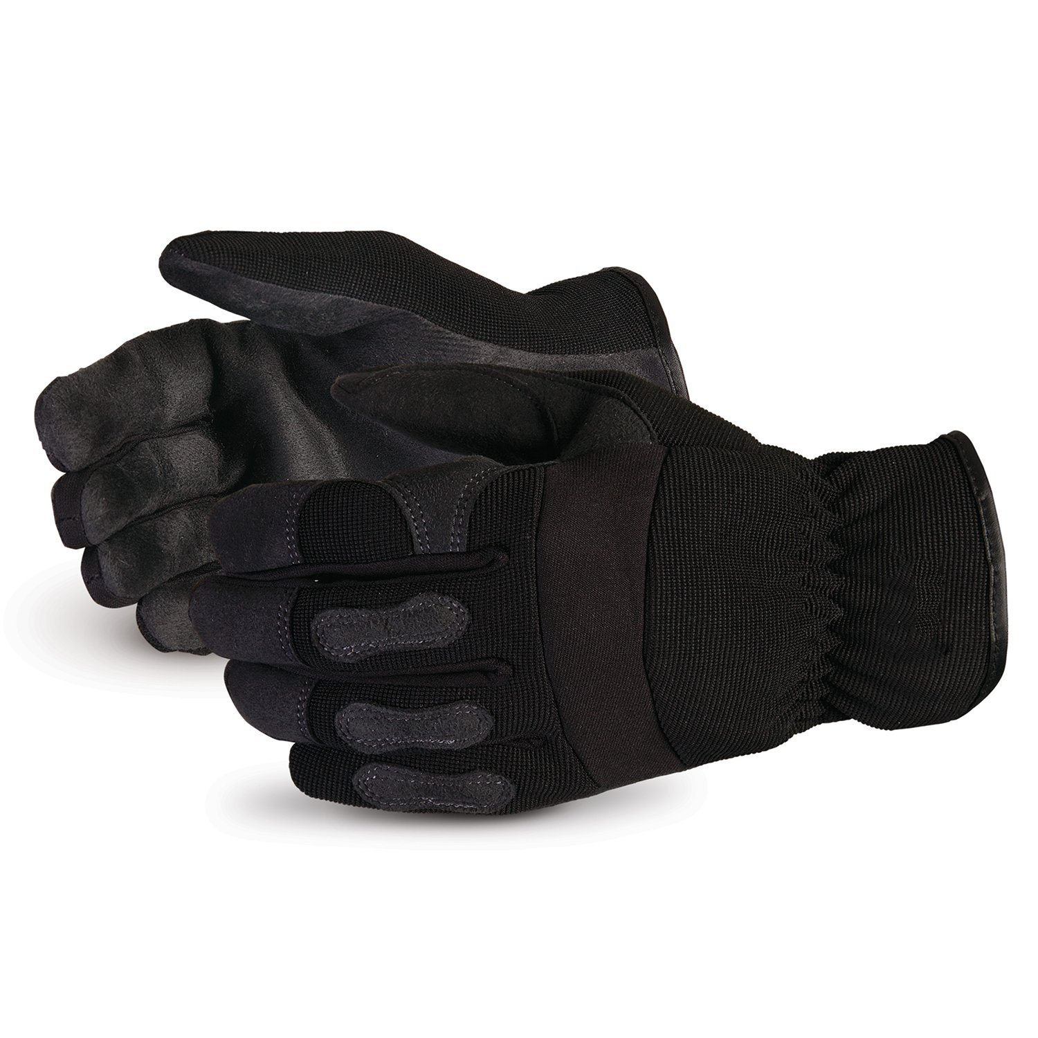 Superior Winter Work Gloves - Black Synthetic Leather with Neoprene for Comfort and Safety (378PLFL) – Size Large