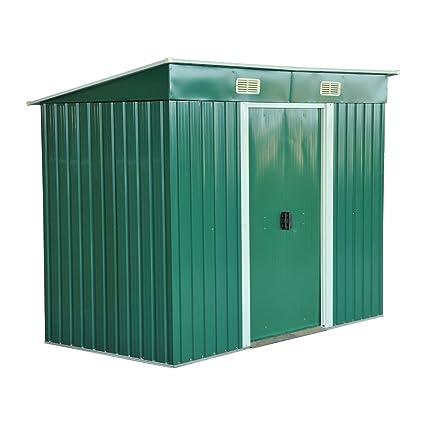 Outsunny Cobertizo Galvanizado para Jardín Caseta Metálica para Almacenamiento de Herramientas de Jardinería 237x119x181cm