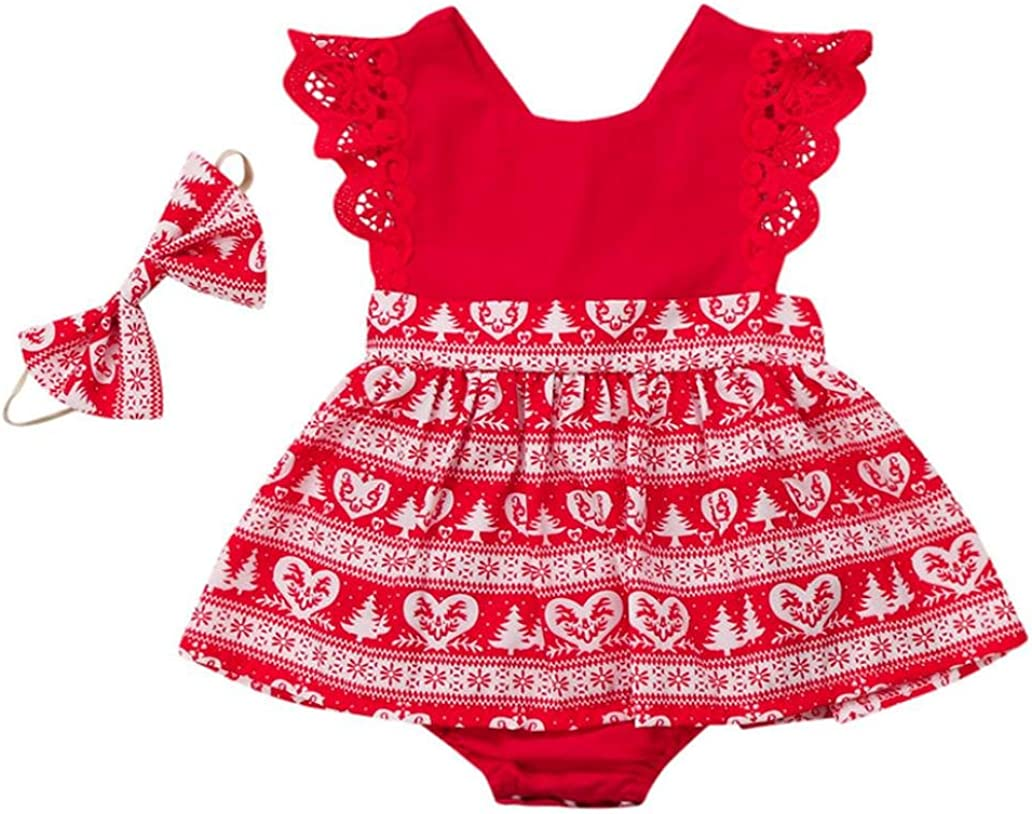 Franterd Christmas Dress for Sisters Family Sister Matching Ruffle Lace Dress Headband Baby Girls Outfit Clothes