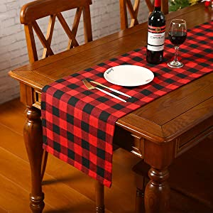 Xmas Decor Table Runner Cotton Burlap Buffalo Plaid, Christmas Reversible Red and Black Checkered Table Runners for Holiday Christmas Table Decorations, 14 x 72 Inch (14 x 72 Inch-3)