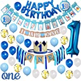Baby Boy 1st Birthday Decorations and Photo Banner 1-12 Month, First Birthday Crown, Cake Topper ONE, Happy Birthday Balloons Banner, Number 1 Foil Balloon, Blue and White Balloons Party Decorations.