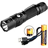 Fenix PD35TAC (PD35 Tactical) 1000 Lumens XP-L LED Flashlight, Genuine Fenix 2600mAh 18650 USB Rechargeable Battery, & LumenTac USB Charging Cable