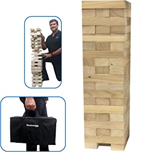 EasyGoProducts Stack & Tumble Giant Wood Block Tower Great for Game Nights Adults and Kids Starts at 2.5' Builds to 5' Storage Bag Included