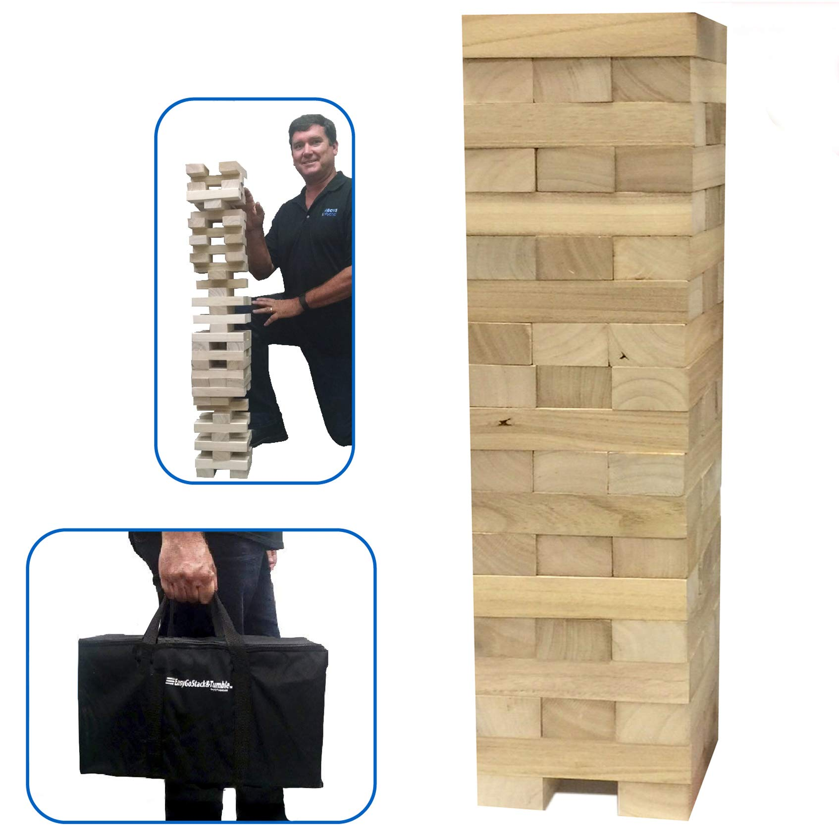 EasyGoProducts 54Piece Giant Wood Block Stack & Tumble Tower Toppling Blocks Game- Great for Game Nights for Kids, Adults & Family -Storage Bag by EasyGoProducts