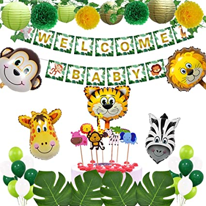 Amazon Com Jungle Theme Safari Baby Shower Decorations With Welcome Baby Banner Palm Leaves Animal Cupcake Toppers Paper Lanterns Pompoms Neutral Party Decorations For Boy Or Girl Birthday Toys Games