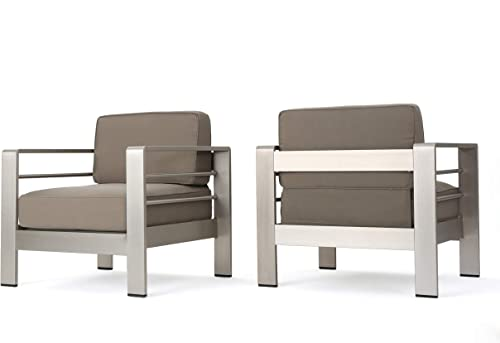 Christopher Knight Home Cape Coral Outdoor Aluminum Club Chairs with Water Resistant Cushions, 2-Pcs Set, Khaki