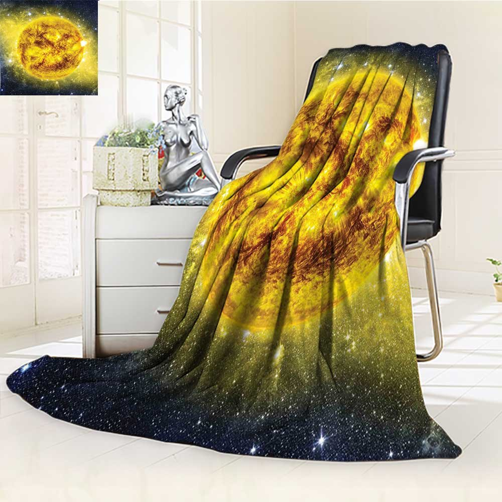 YOYI-HOME Original Luxury Duplex Printed Blanket, Hypoallergenic,Sun in Space with Luminous Effects Dynamic Center of Solar System Print Yellow Blue Perfect for Couch or Bed/W47 x H59