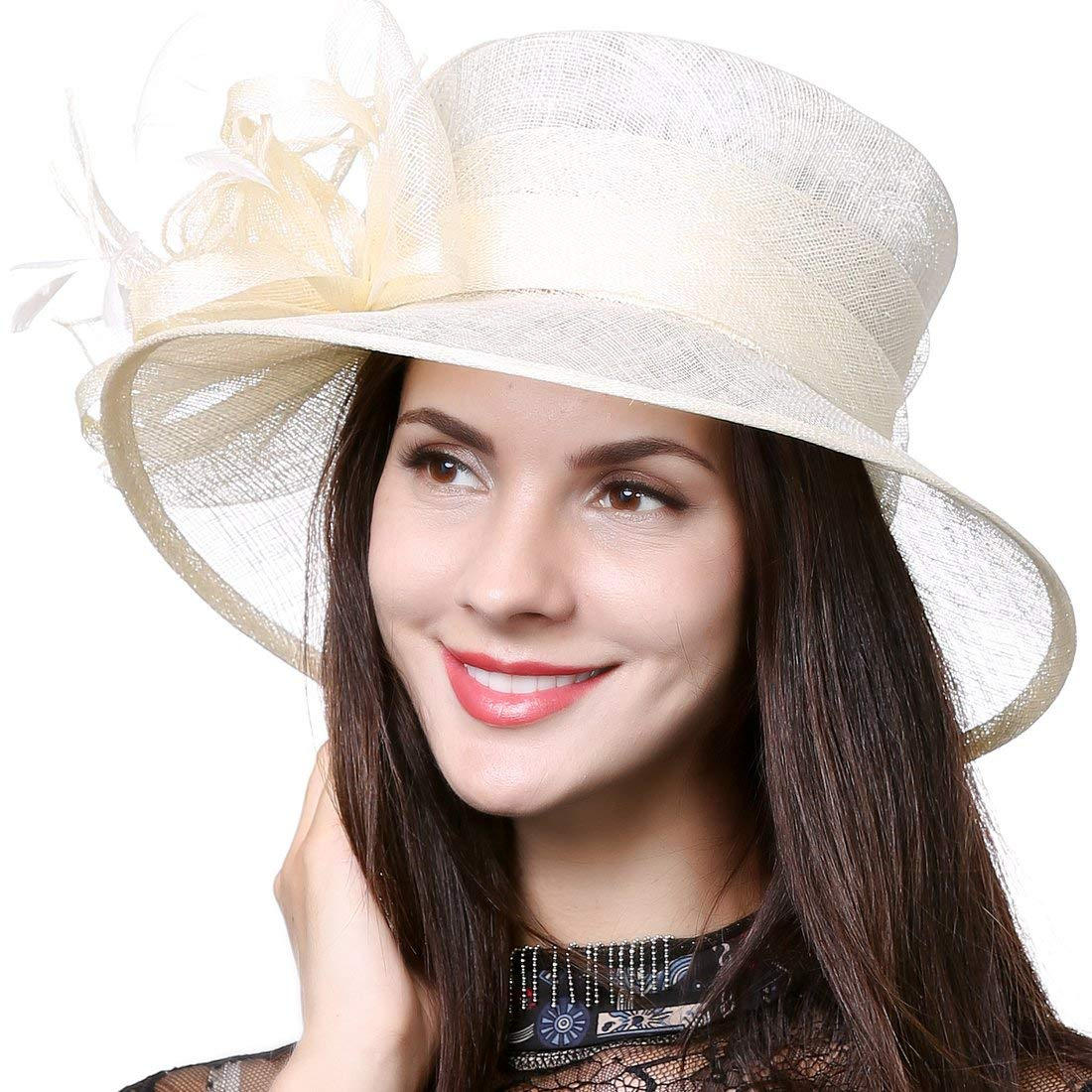 Ladies Tea Ivorytrim Feathers High Brim Church Navy Feather Satin Organza Horse End Winter for Womans Dress Sinamy to Race 4 Inch Party Bridal Cream Hat Hats Cloche Sinamay Ivory Belmont
