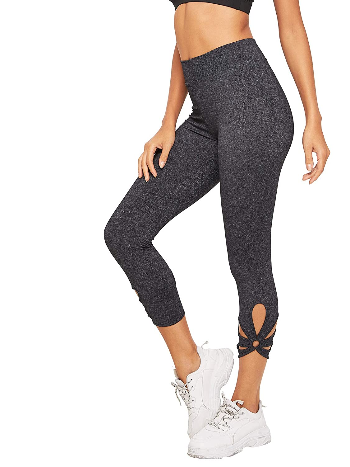 2ba9ded99bf121 Amazon.com: SweatyRocks Women's Mesh Panel Capri Leggings Workout Yoga  Running Crop Pants: Clothing