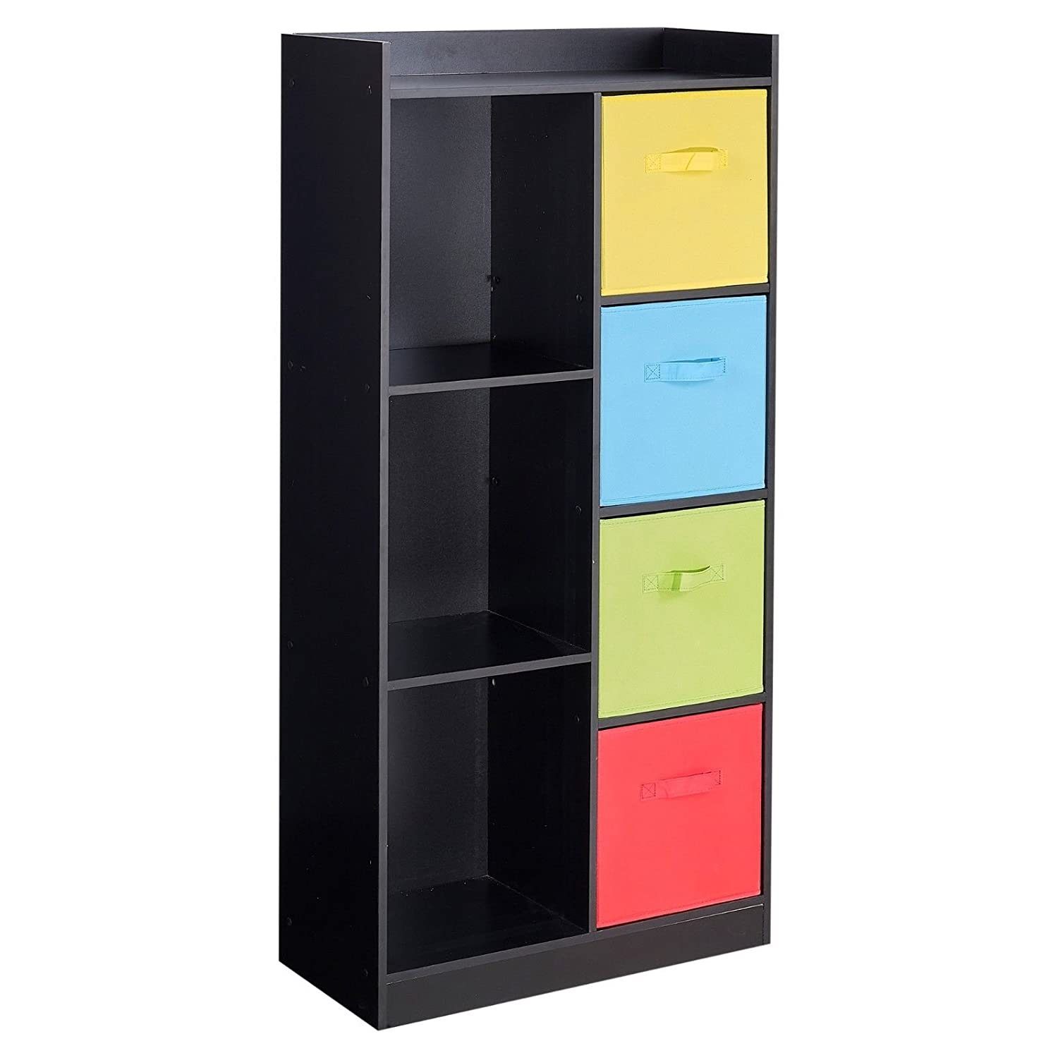 URBNLIVING Black Tall Wooden 7 Cube Bookcase & 4 Beige Drawers EGT