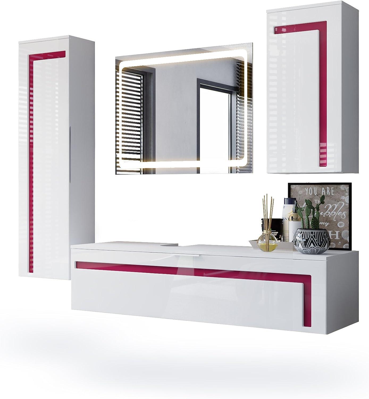 Conjunto de Muebles para baño Aloha, Cuerpo en Blanco Mate/Frentes en Blanco de Alto Brillo con molduras en Fucsia de Alto Brillo con Espejo LED: Vladon: Amazon.es: Hogar