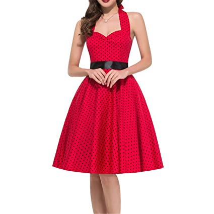 Review Eric Hug dress Plus Size Polka Dot Dress Women Swing Halter Belt Rockabilly Prom Party Dresses