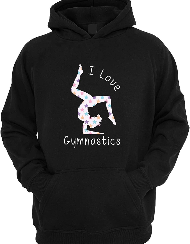 I Love Gymnastics Star Print Childrens Kids Hoodie