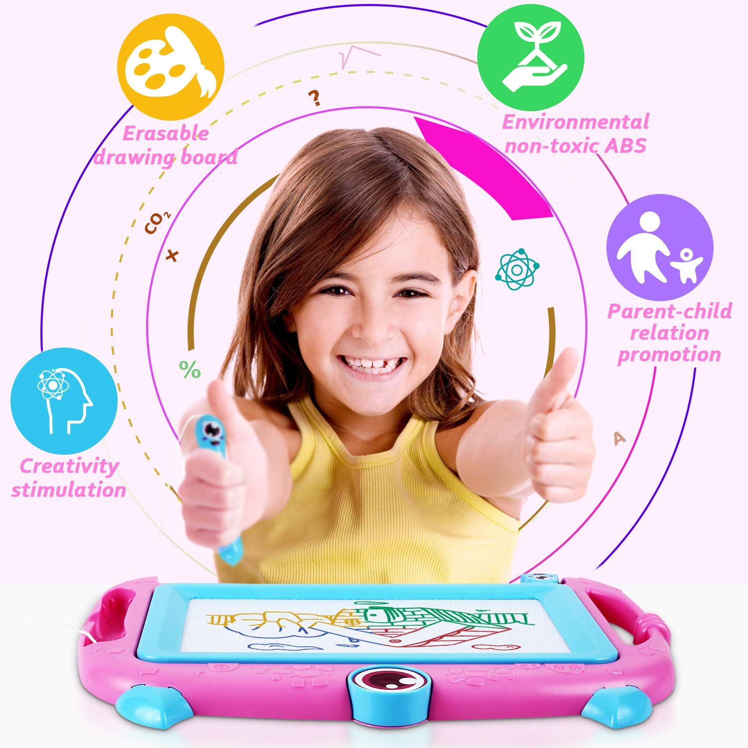 Peradix Magnetic Drawing Boards, Doodle Scribble Writing Board Colorful Pad Learning toys For Kids Children (Pink)